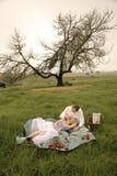 愉快的年轻夫妇有一顿浪漫野餐户外在绿色领域 图库摄影