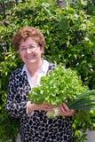 愉快的主妇画象有未加工的新鲜蔬菜的 免版税库存图片