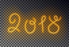 愉快的2018新年灯光管制线 发光的不可思议的防火线被隔绝的作用对透明背景 皇族释放例证