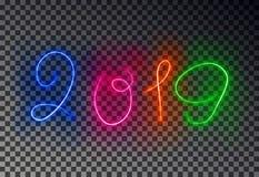 愉快的2019新年灯光管制线 被隔绝的发光的不可思议的颜色作用对透明背景 Vecto 向量例证