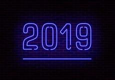 愉快的2019新年霓虹灯传染媒介 被隔绝的减速火箭的透明霓虹灯作用 传染媒介illustra 库存例证
