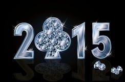 愉快的2015新年金刚石啤牌俱乐部 图库摄影