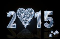 愉快的2015新年金刚石啤牌心脏 库存图片