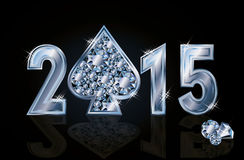 愉快的2015新年金刚石啤牌锹 免版税图库摄影
