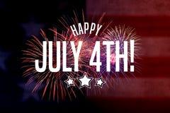 愉快的7月4日问候有红色和蓝色背景 免版税图库摄影
