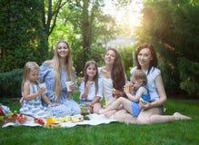愉快的年轻母亲和女儿有野餐在夏天公园 免版税库存图片