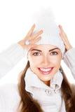 愉快的暴牙的微笑。 新鲜的冬天表面。 兴高采烈 免版税库存图片