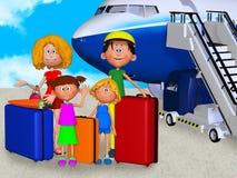 愉快的3d家庭在机场 免版税库存照片