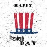 愉快的总统Day Black与爆炸的Lettering Typography在老织地不很细背景 卡片的传染媒介例证 免版税库存图片