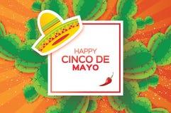 愉快的Cinco De马约角贺卡 Origami墨西哥阔边帽帽子、多汁植物和红辣椒 方形框架 库存照片