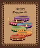 愉快的Deepavali灯五颜六色的卡片 免版税库存照片