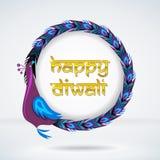 愉快的diwali孔雀框架 免版税库存照片