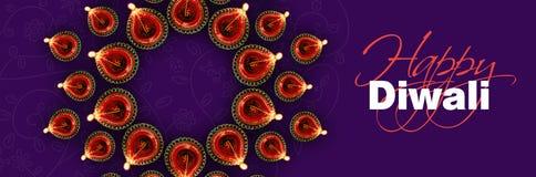 愉快的diwali贺卡陈列照亮了diwali灯或diya 免版税库存图片