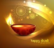 愉快的diwali贺卡明亮的col的美好的例证 免版税图库摄影