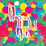愉快的Holi五颜六色的颜色无缝的样式 免版税库存照片