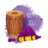 愉快的holi邀请卡片dholak颜色pichkari庆祝 库存照片