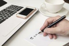 愉快的Pi天,写在黑笔在白色 库存照片
