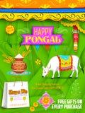 愉快的Pongal问候和购物背景 免版税图库摄影