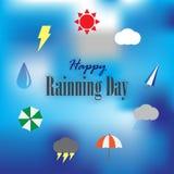 愉快的rainning的天 免版税库存照片