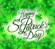 愉快的St Patricks天三叶草三叶草背景 免版税库存图片