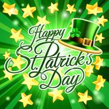 愉快的St Patricks天妖精帽子背景 库存图片