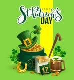 愉快的St Patricks天文本贺卡 帕特里克` s辅助部件欢乐构成 金壶,绿色帽子,三叶草叶子,马 免版税库存照片
