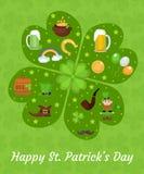 愉快的St Patricks天贺卡模板,邀请,您的设计的海报 也corel凹道例证向量 库存图片