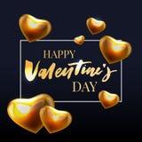 愉快的Valentine'与长的阴影的s天手拉的刷子字法,隔绝在鲜红背景 为假日舱内甲板完善 免版税库存照片
