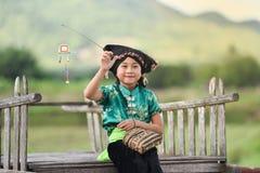 愉快逗人喜爱的亚裔儿童的女孩 库存图片