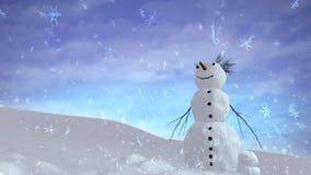 愉快雪人的天空 库存照片