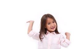 愉快,微笑的女性亚洲白种人孩子使用 免版税库存照片