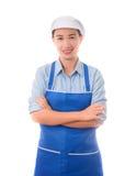 愉快,微笑,正面女性厨师,主妇,横渡ge的胳膊 库存图片