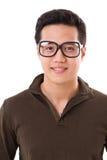 愉快,正面,聪明的天才书呆子或怪杰人戴眼镜 库存图片