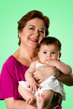 愉快婴孩逗人喜爱的祖母 库存图片