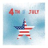 愉快7月第4在蓝色喷漆水彩的 免版税库存照片