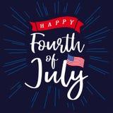 愉快7月第4美国的、美国独立日,字法和蓝色放光背景 免版税库存图片