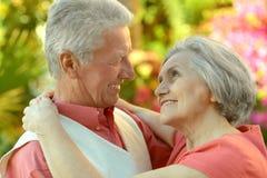 愉快年长夫妇拥抱 库存图片