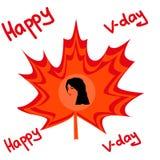 意味一加拿大胜利天的红色叶子 免版税库存图片