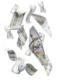 任意地落在白色的$100张票据 免版税库存图片