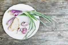 意大利、托斯卡纳、Magliano,春天葱、大蒜和面包在板材在木桌上 库存图片