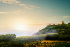 意大利中世纪村庄风景 库存照片