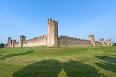 意大利中世纪montagnana veneto墙壁 库存图片