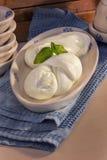 意大利乳酪叫与新鲜的蓬蒿的无盐干酪 库存图片