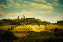 意大利人托斯卡纳圣吉米尼亚诺风景 免版税库存照片