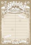 意大利人第一份路线菜单的葡萄酒图表元素 免版税库存照片