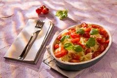 意大利人Farfalle在色的背景的面团用蕃茄和蓬蒿 免版税库存照片