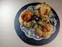 意大利传统食物叫在迷离背景的scarcella 免版税库存照片