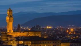 意大利佛罗伦萨日落和夜视图 图库摄影