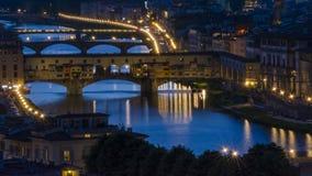意大利佛罗伦萨日落和夜视图 免版税库存图片