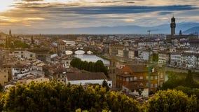 意大利佛罗伦萨日落和夜视图 免版税图库摄影